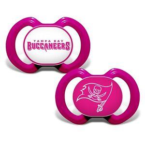 Tampa Bay Buccaneers Pink Baby Pacifier Set - Licensed NFL BPA Free 2pk