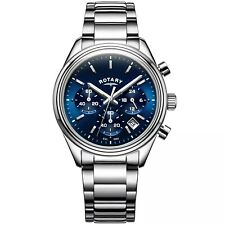 Rotary Men's Stainless Steel Blue Dial Chronograph Watch GB00670/05 Brand New