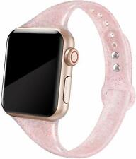 Apple Watch Band 38mm 40mm Pink Glitter Replacement Silicone Strap for Women NEW