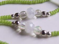 Cordon à lunettes artisanal, vert, perles japonaises, Miyuki 11-0416 opaque char