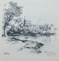Ernest Coffin Etching Art Print of Windsor Castle Unframed on Paper Circa 1930