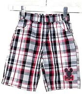 Disney Micky Mouse Boys Shorts Plaid With Several Shades Of Gray & Red Size 5