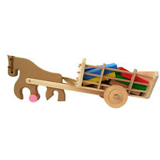 Wooden Toy Horse and Carriage with Colourful Building Blocks