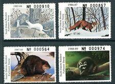 NORTH DAKOTA FURBEARER STAMPS 1985, 1986, 1987, 1988 VF NH Cat $60