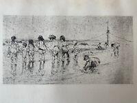 Maurice Sterne gravure Gravure Eau Forte Etching Coney Island Enfant La Plage
