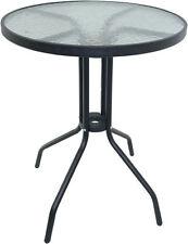 Round Glass Top Table Metal Frame Legs Garden Outdoor Indoor Bistro Cafe Table