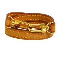 Authentic LOUIS VUITTON Logos Shoulder Strap Brown Leather Vintage GS01278b