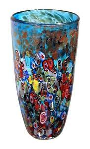 """New 12"""" Hand Blown Glass Art Vase Blue Italian Millefiori Multicolor Decorative"""