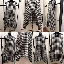 Veritecoeur OS Dual Faced Linen Black Charcoal Combo Check Apron WorkShop Dress