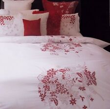 ANDREA Red Queen Quilt Cover Set White Embroidery Poly-Cotton Doona Duvet