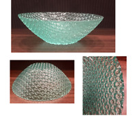 "VINTAGE Teal Aqua Marine Blue Glass Textured Glass Serving Bowl 9.5"" x 3.5"""