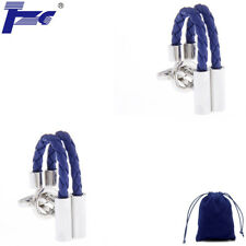 Fashion Cuff Links Men Blue Leather Rope Shirt Cufflinks With Velvet Bag