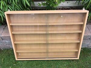Vitrine Sammlervitrine Regal 80x60x9 cm Schaukasten Holz/Glas Spur H0