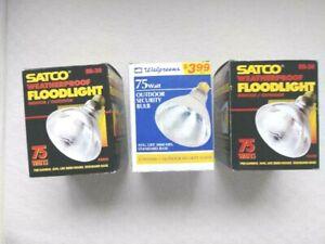Lot of 3 SATCO/Walgreens weatherproof 75 Watts Floodlights/ Outdoor Bulbs