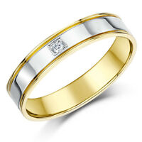 9ct Two Colour Gold Ring Court Shape Diamond Wedding 4mm Band