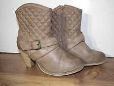 Primark Ladies Faux Leather Beige Chunky Heel Ankle Boots Size UK 7  EUR 41