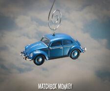 Classic Blue Volkswagen Beetle Custom Christmas Ornament VW Bug Herbie 1/64