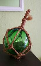 Fischerkugel im Tauwerk / Kugel maritime Deko / Vintage / Shabby / Glas / grün