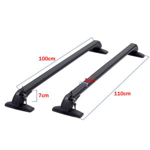 Universal Car SUV Roof Rail Luggage Rack Baggage Carrier Cross Aluminum Black