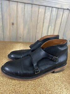 Frye  Double Buckle Strap Black Leather Boots Men's Size 12