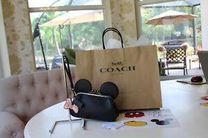 NWT COACH DISNEY X Kisslock Minnie Mouse Black Leather Ears Wristlet/Clutch $275