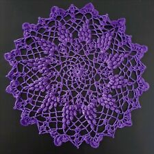 "Crocheted Grape Doily ~ Handmade ~ New ~ 10"" ~ Cotton ~ Charity 100%"
