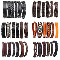 6pcs/set Vintage Punk Leather Bracelet Wristband Bangle Men Jewellery Party Gift