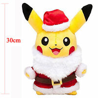 "12"" Pokemon Pikachu Plush Soft Stuffed Toy + Christmas Santa Claus Coat Hat Gift"