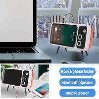 Retro Wireless Bluetooth Speaker Tv Mobile Phone Bracket Portable NEW