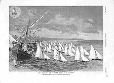 Régate Bateaux Modèles Réduits Baie de Cannes golfe de La Napoule GRAVURE 1882