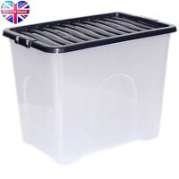 80L 80 Litre XX Large Plastic Storage Clear Box Strong Stackable Container