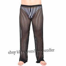 10d378409ad9 Men's See-through Yoga Pilates Pants Comfy Spandex Knit Pajama Lounge Sleep  Pant