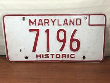 Old Car Vintage Antique Automobile Collectible Maryland Historic license Plate