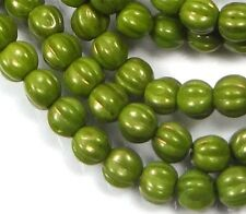 50 Czech Glass Melon Round Beads 5mm - Opaque Olive - Marbled Gold