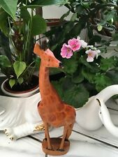 Hand Carved Wooden Giraffe Figure Ornament