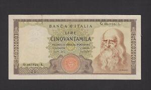 50000 LIRE LEONARDO Q 083825 L  19.07.1970 BANKNOTES ITALY
