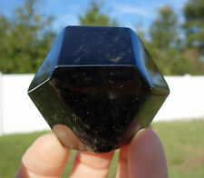 Black OBSIDIAN Rare TETRADECAGON Sacred Geometry Crystal Gold Sheen 14 Sided