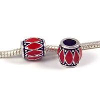 3 Beads - Red Barrel Enamel Silver European Bead Charm E0817