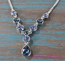 Givenchy Necklace Sapphire Blue Glass Stones Frontal Y Formal Silver Tone NEW