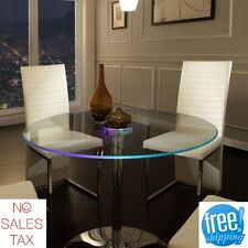LED Dining Table Lighted Glass Round Large Modern Unique Home Furniture Kitchen