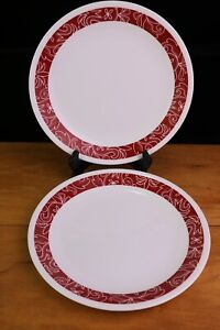 """2 Corelle Bandhani 8.5 """" Luncheon Salad Plates Red Floral"""