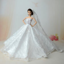 White Fashion Royalty Princess Dress/Clothes/Gown+veil For Barbie Doll S550