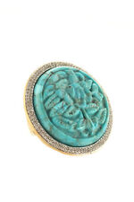Rarities Turquoise Carved Zircon Accented Sterling Silver Ring Size 7 New $720