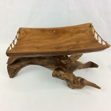 HAND-TURNED HAWAIIAN Lg MILO WOOD TRY With STAND Done With Excellent Details .