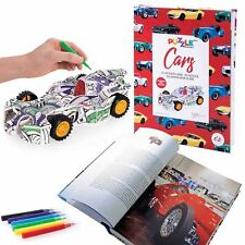 S Kids Illustrated Colouring Book W/24cm 3d Puzzle/felt Pens Cars 8y Is Gift
