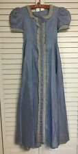 Vintage Girls Victorian Blue Dress Gown With Lace Trim Antique