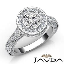 2.6ct Halo Pave Round Diamond Engagement Ring GIA F Color VVS2 14k White Gold