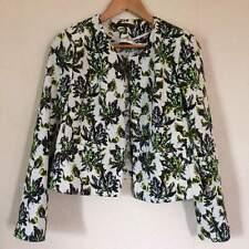 ATMOSPHERE Black White Green Floral Flower Jacket Coat Size 14
