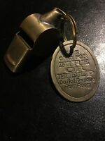 Whistle Set Antique Style Hotel Brass Tag Patina Finish Fire Department Vg WOW!