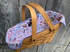 Custom Patriotic Picnic Pets Liner for Longaberger Medium Vegetable Basket